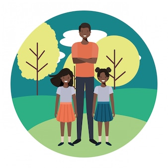 Bringen sie mit seinen kindern in der landschaftavataracharakter hervor