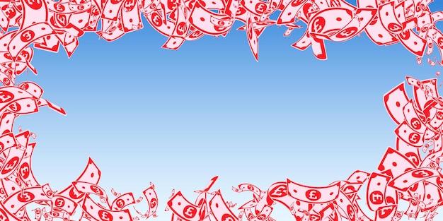 Britische pfundnoten fallen. unordentliche gbp-scheine auf hintergrund des blauen himmels. geld aus großbritannien. schöne vektor-illustration. würdiges jackpot-, reichtums- oder erfolgskonzept.