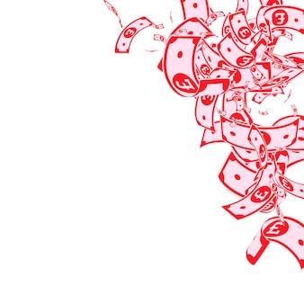 Britische pfundnoten fallen. unordentliche gbp-scheine auf weißem hintergrund. geld aus großbritannien. schöne vektor-illustration. fesselndes jackpot-, reichtums- oder erfolgskonzept.
