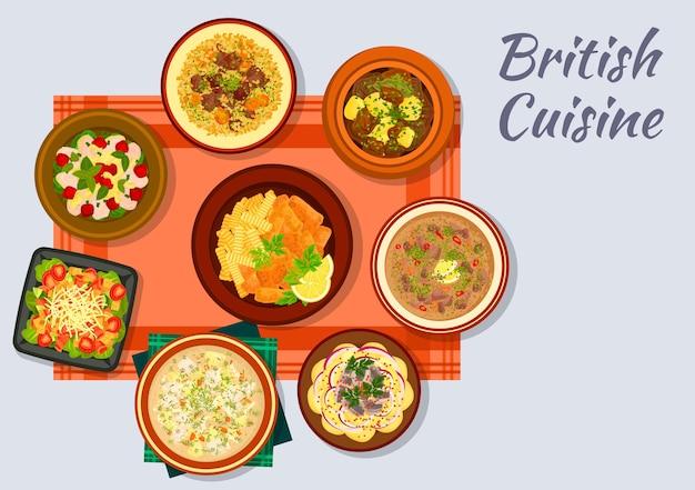 Britisches küchenschild mit fisch und pommes, speck, salat und tomatensalat, irischem gemüseeintopf