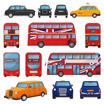 Britisches taxi-taxi des londoner autovektors und des roten busses großbritanniens für den transport in england illustrationssatz des tourismus-transports in großbritannien durch fahrzeug oder englisches automobil isoliert