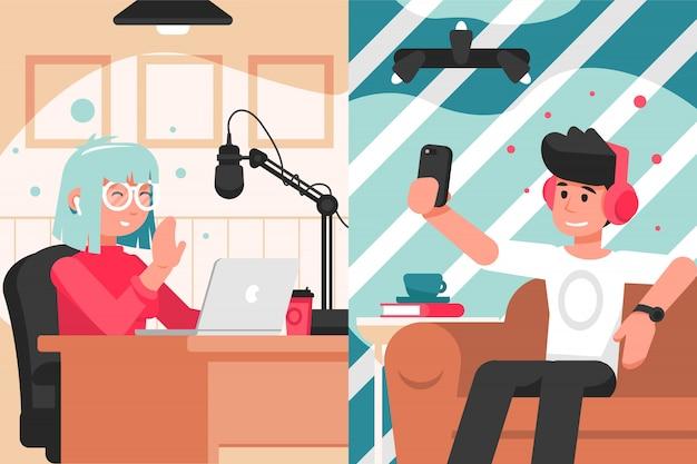 Broadcast, blogging, kommunikation, kollavoration interview konzept