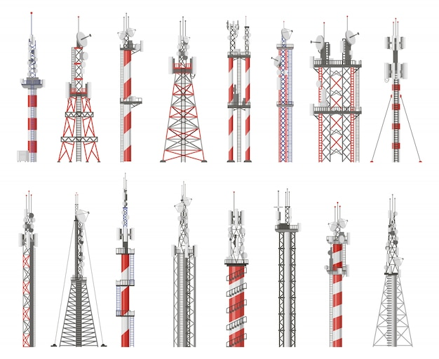 Broadcast-technologieturm. kommunikationsantennenturm, funkfunksignalstation. illustrationssymbole des mobilfunknetz-turms gesetzt. funksignalturm, drahtlose mobilfunkübertragung