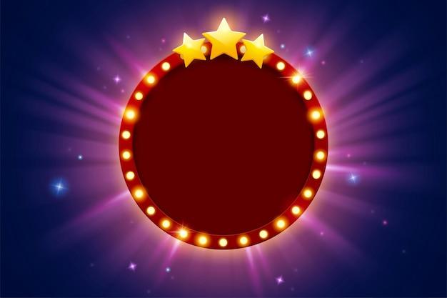 Broadway-stil retro-festzelt helles rundes rotes brett mit drei sternen glitzernder leerstelle