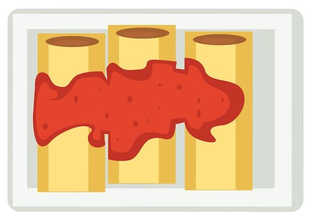 Brötchen aus pfannkuchen, serviert mit marmelade oder kaviar. frühstück oder abendessen im restaurant. essen dessert in diners und bars. gekochte gefüllte crpes. japanische orientalische küche. vektor im flachen stil