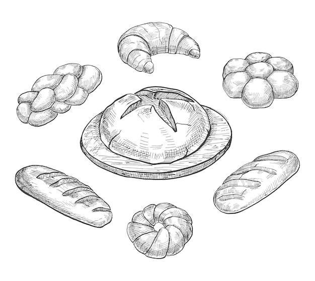 Brötchen, croissant, laib, brot, backen lokalisiert auf weißem hintergrund. eines skizzenstils.