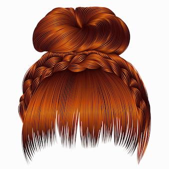 Brötchen mit zopf und pony. haare ingwerfarben. frauen mode beauty-stil.