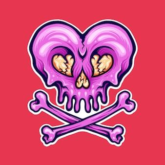 Broken heart cracked skull illustrationen