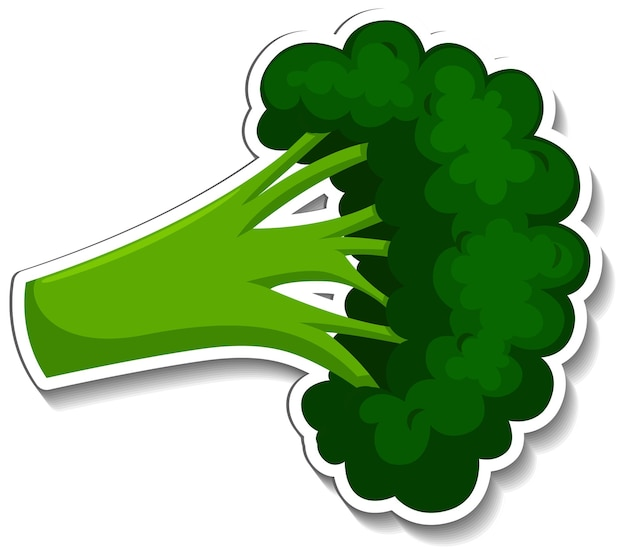 Brokkoli-aufkleber auf weißem hintergrund