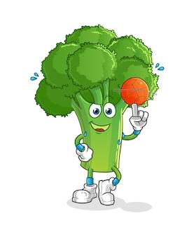 Brokkoli, der basketballmaskottchen spielt. karikatur