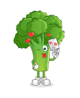 Brokkoli halten liebesbriefillustration. charakter