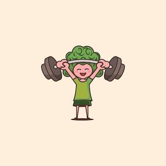 Brokkoli-kopf-mann, der schwere langhantel hebt