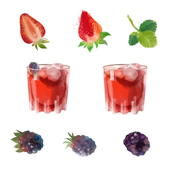 Brombeer gin aquarell cocktail illustration
