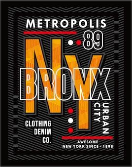 Bronx metropole, vektortypografie illustration design grafik