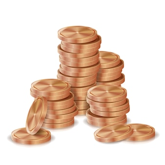 Bronze, kupfermünzen stapel