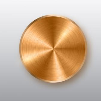 Bronze metallknopf mit textur, realistischem schatten und hellem hintergrund.