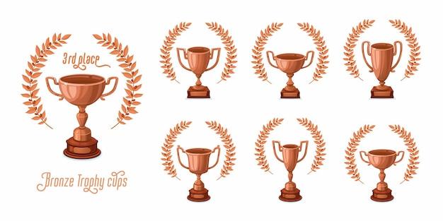 Bronze-trophäenbecher mit lorbeerkränzen