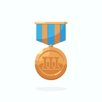 Bronzemedaille mit blauem band für den dritten platz