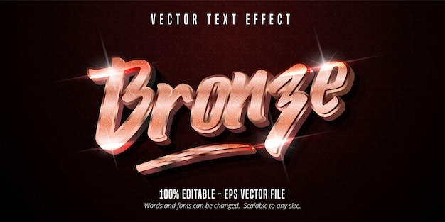 Bronzetext, bearbeitbarer texteffekt im glänzenden metallic-stil