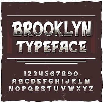 Brooklyn alphabet mit quadratischem rahmen und vintage-schrift mit linien ziffern und buchstaben