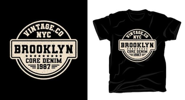 Brooklyn core denim typografie für t-shirt design