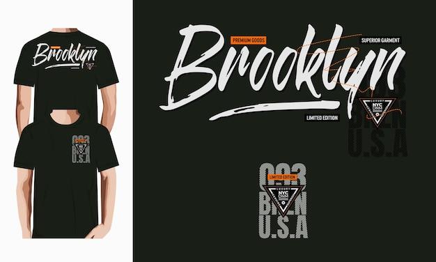 Brooklyn-grafische typografie-t-shirt-vektor-designillustration premium-vektor