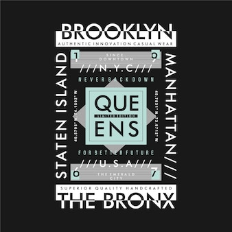 Brooklyn, königinnen, die bronx grafik typografie vektor-illustration