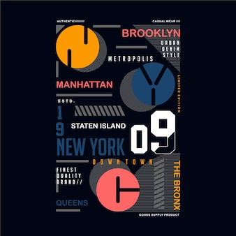 Brooklyn manhattan, nyc symbol textrahmen typografie für t-shirt design