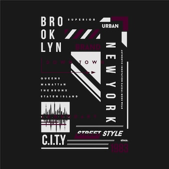 Brooklyn new york city grafik t-shirt textrahmen design typografie