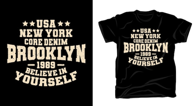 Brooklyn new york core denim typografie t-shirt design