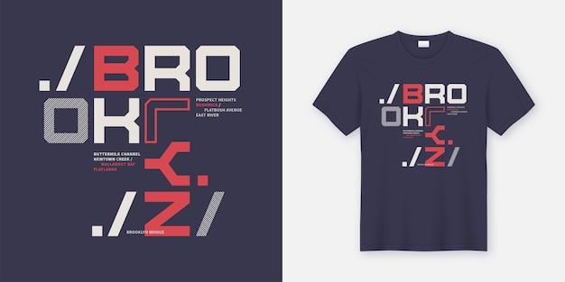 Brooklyn new york t-shirt und bekleidungsdesign. druck, typografie, poster. globale farbfelder.