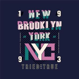 Brooklyn, nyc schriftzug typografie gestreiften abstrakten design Premium Vektoren