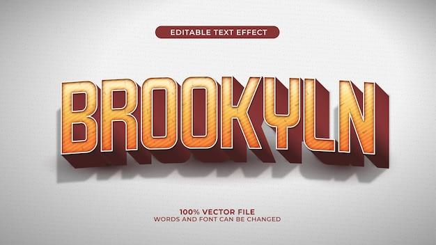 Brooklyn texteffekt 3d retro- und vintage-stil