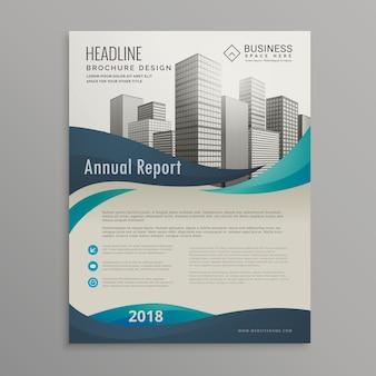 Broschüre design-vorlage mit blauen wellenförmigen formen im modernen stil