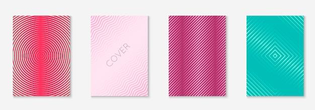 Broschüre einstellen. retro-einladung, notizbuch, ordner, buchmodell. rot und grün. legen sie die broschüre als minimalistisches trendiges cover fest. geometrisches linienelement.