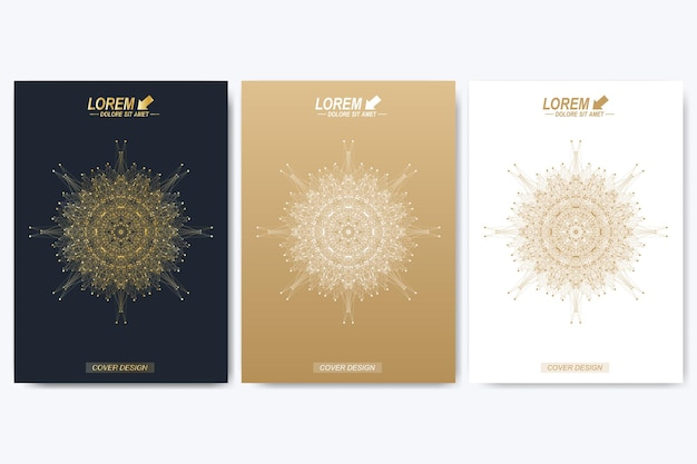 Broschüre, faltblatt, flyer, umschlag, katalog, magazin im format a4. präsentation mit goldenem mandala