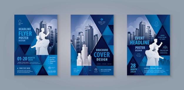 Broschüre flyer poster cover jahresbericht broschüre template design abstraktes blaues geometrisches dreieck