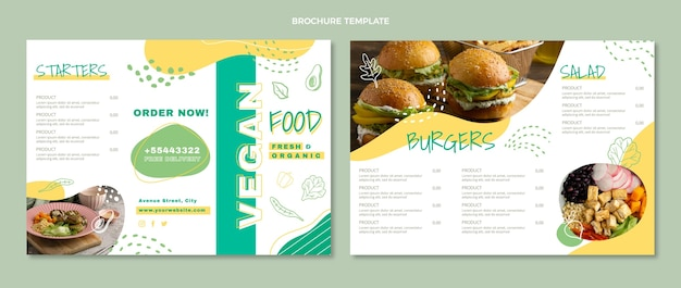 Broschüre für veganes essen im flachen design