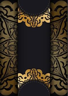 Broschüre in dunkler farbe mit goldenem abstraktem muster