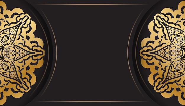 Broschüre in dunkler farbe mit goldenem griechischem ornament
