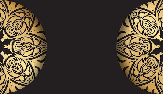 Broschüre in dunkler farbe mit goldenem indischem ornament
