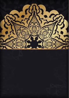 Broschüre in dunkler farbe mit goldenem luxusmuster