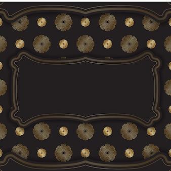 Broschüre in dunkler farbe mit goldenem vintage-muster