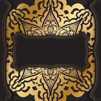 Broschüre in dunkler farbe mit goldenem vintage-ornament