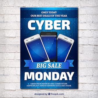 Broschüre mit drei smartphones für cyber-montag