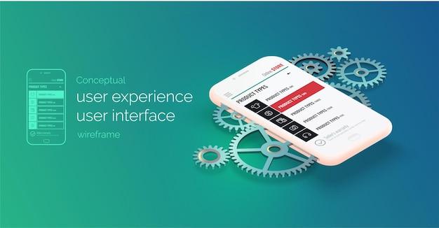 Broschüre mit konzeptionellem banner-broschüre benutzererfahrung benutzeroberfläche