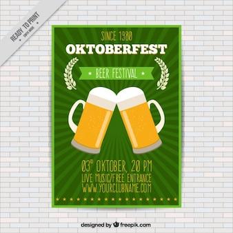 Broschüre mit zwei becher bier für die wiesn