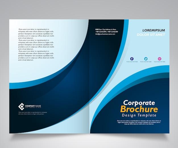 Broschüre oder unternehmensschablonendesign mit wellenblaudesign