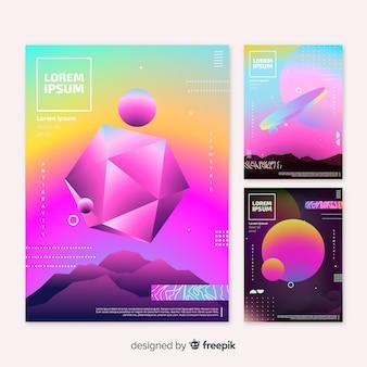 Broschüre-pack mit schwimmenden geometrischen formen