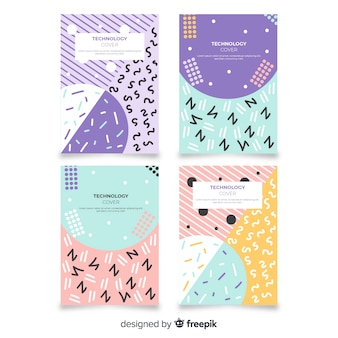 Broschüre-set für pastellfarben im memphis-stil